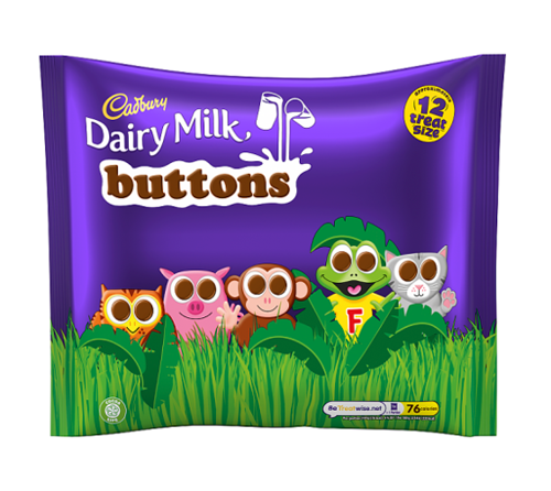 Cadbury Dairy Milk Buttons Chocolate 12 Treatsize Bags 170g