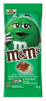 M&M's Mint Milk Chocolate Bar with M&M's Mini's and Crisp Rice 107g