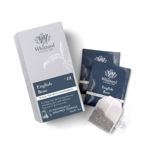 Whittard English Rose 25 Individually Wrapped Teabags 50g