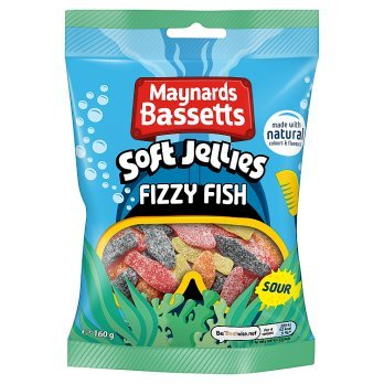 Maynards Bassetts Soft Jellies Fizzy Fish Sweets Bag 160g